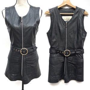 Leather Full Zip Belted Tunic Vest Mini Dress